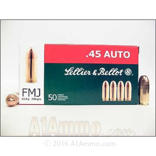 45 acp ammo sellier bellot 230 grain full metal jacket 1000 rounds. Black Bedroom Furniture Sets. Home Design Ideas